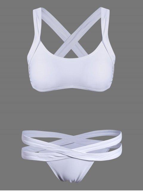 buy Cut Out Sporty Bikini - WHITE L Mobile