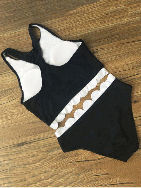 unique Printed Scalloped Cropped Bikini Set - BLACK M Mobile