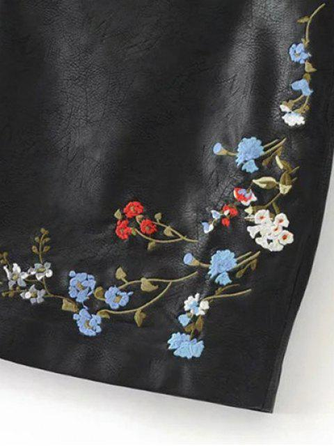women's Faux Leather Floral Embroidered Skirt - BLACK M Mobile