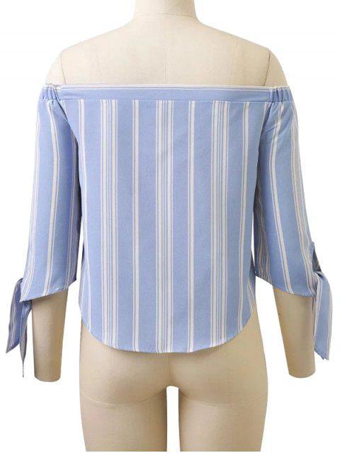 lady Off Shoulder Tied Striped Blouse - LIGHT BLUE L Mobile
