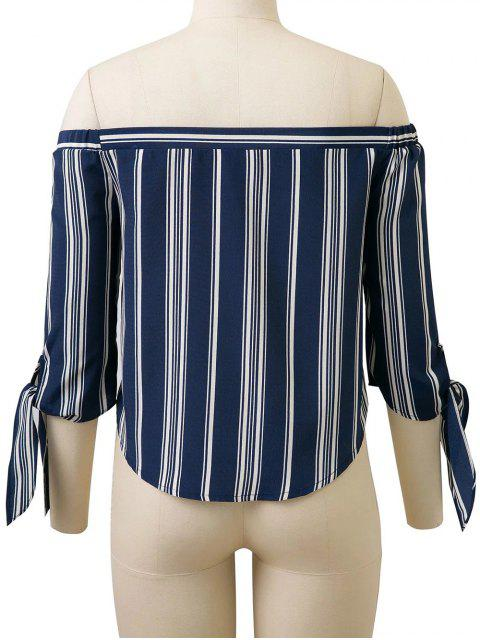 outfit Off Shoulder Tied Striped Blouse - DEEP BLUE S Mobile