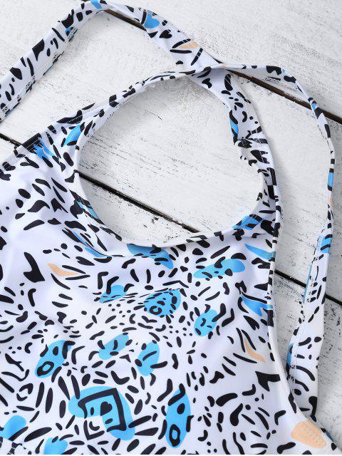 hot Bandage Leopard Print Bikini Set - WHITE M Mobile