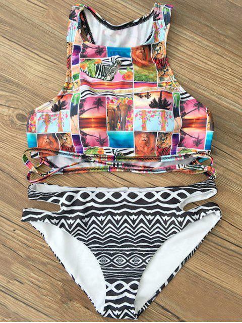 shops Cropped Printed Bikini Set - BLACK XL Mobile