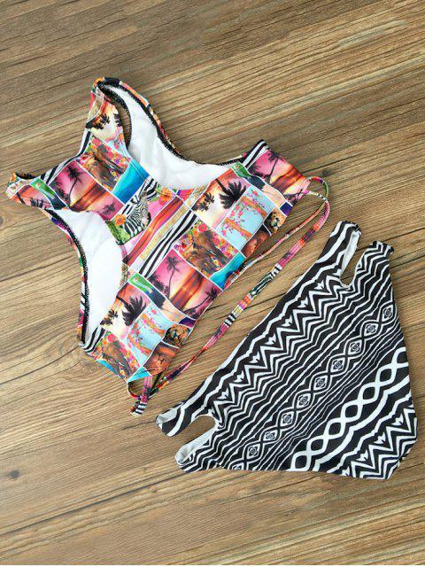 fashion Cropped Printed Bikini Set - BLACK S Mobile