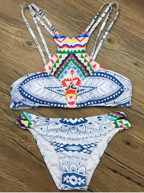 buy Strappy Ethnic Printed Bikini Set - WHITE XL Mobile