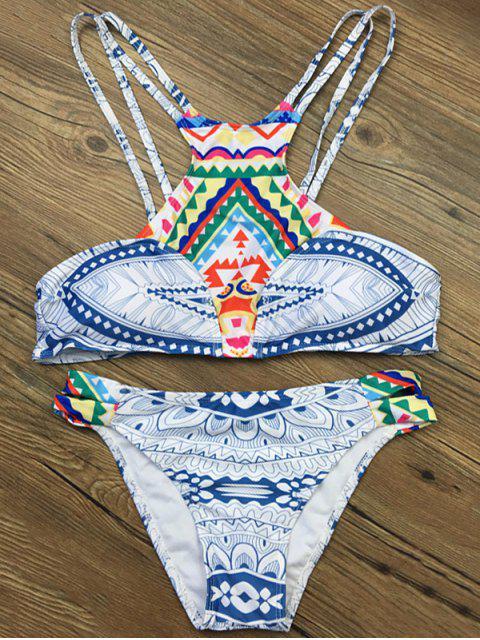 women's Strappy Ethnic Printed Bikini Set - WHITE S Mobile