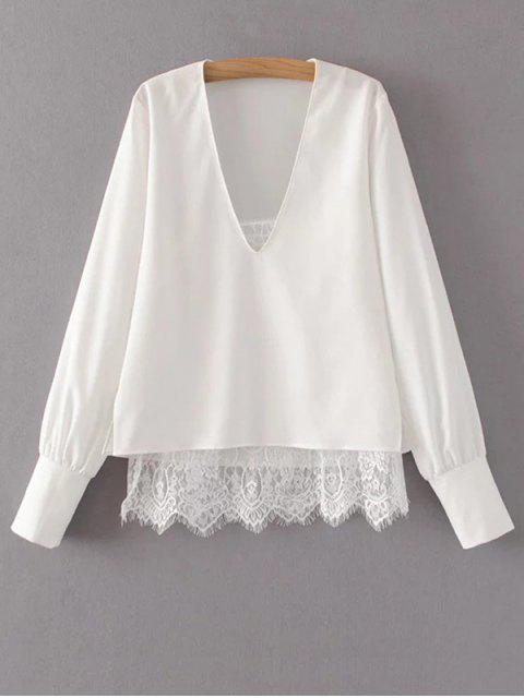 shops V Neck Lace Camisole Panel Blouse - WHITE L Mobile
