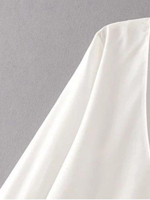 latest V Neck Lace Camisole Panel Blouse - WHITE M Mobile