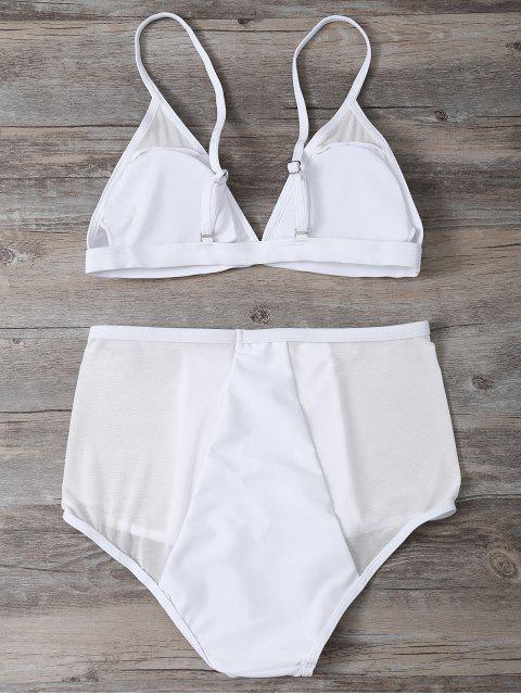 ladies Low Cut High Waist Sheer Bikini Swimsuit - WHITE S Mobile