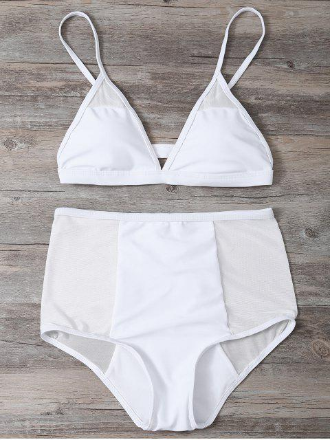 women Low Cut High Waist Sheer Bikini Swimsuit - WHITE L Mobile