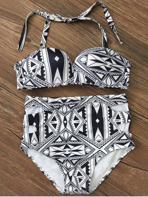 fancy Push Up Geometric High Waisted Bikini Set - BLACK L Mobile