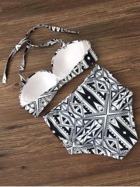 fancy Push Up Geometric High Waisted Bikini Set - BLACK L Mobile