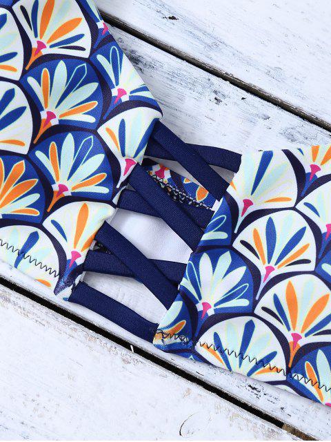 fancy Criss Cross Cami Fish Scales Bikini Set - BLUE M Mobile