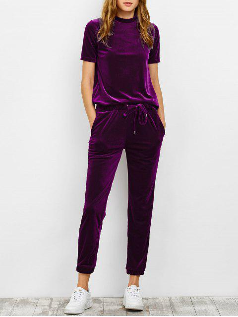 lady Velvet Tee and Jogging Pants Sweat Suit - PURPLISH RED M Mobile