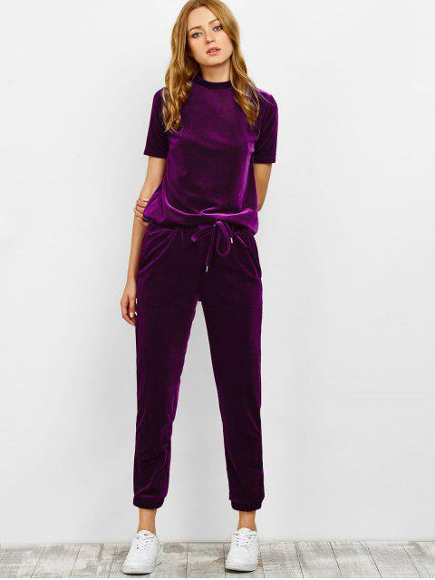lady Velvet Tee and Jogging Pants Sweat Suit - PURPLISH RED M Mobile