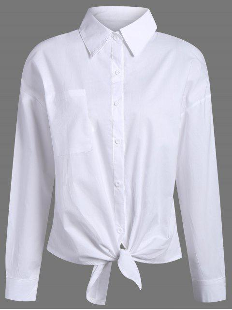 affordable Pocket Tie Knot Shirt - WHITE L Mobile