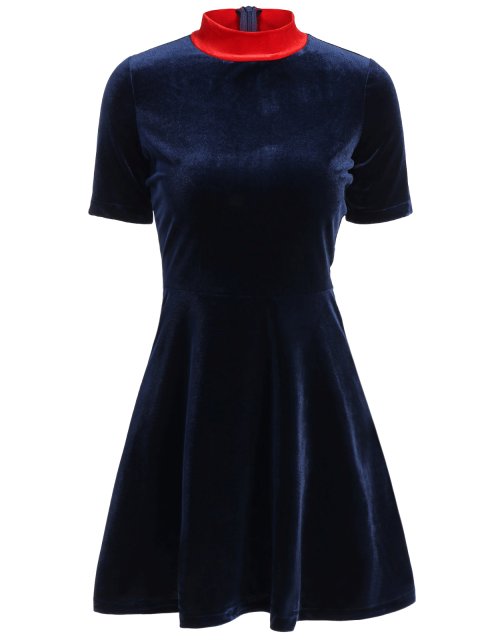 trendy Fitting Velvet Swing Dress - CADETBLUE S Mobile