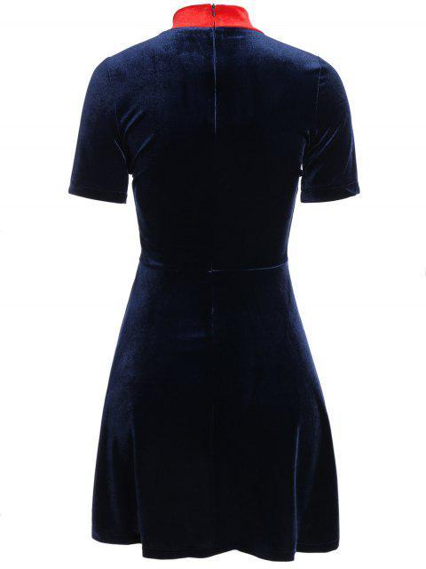 shops Fitting Velvet Swing Dress - CADETBLUE L Mobile