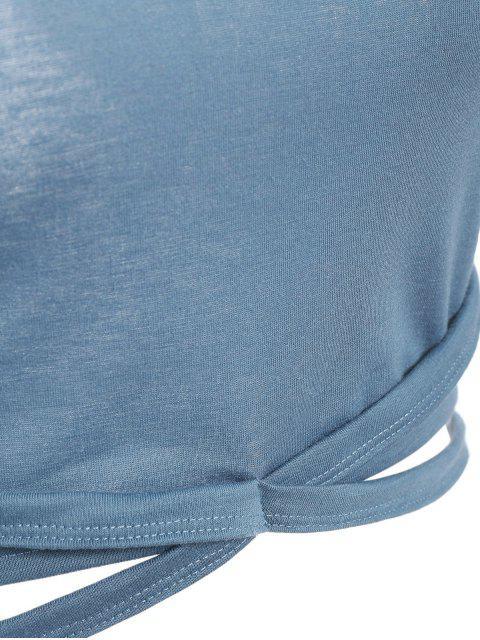 shops Criss Cross Gym Crop Top - BLUE GRAY M Mobile