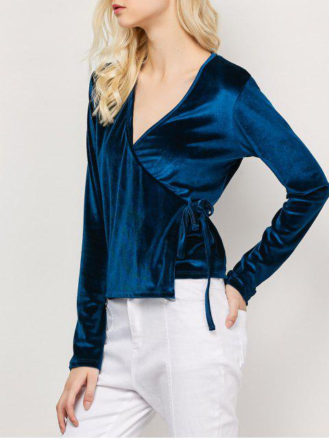 best Long Sleeve Velvet Wrap Top - CADETBLUE L Mobile