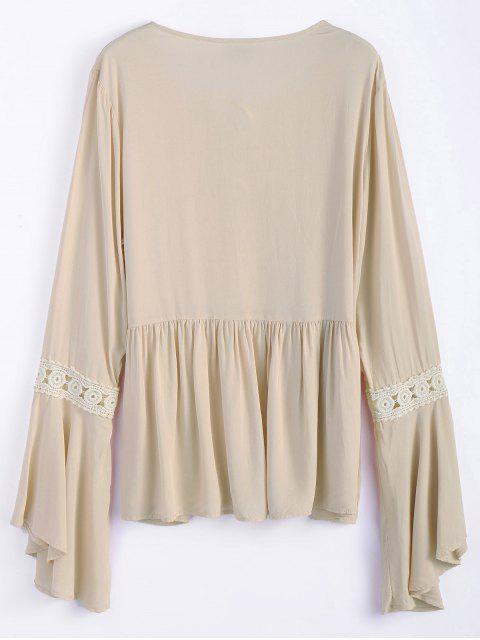 outfits Bell Sleeve Smock Blouse - OFF-WHITE L Mobile