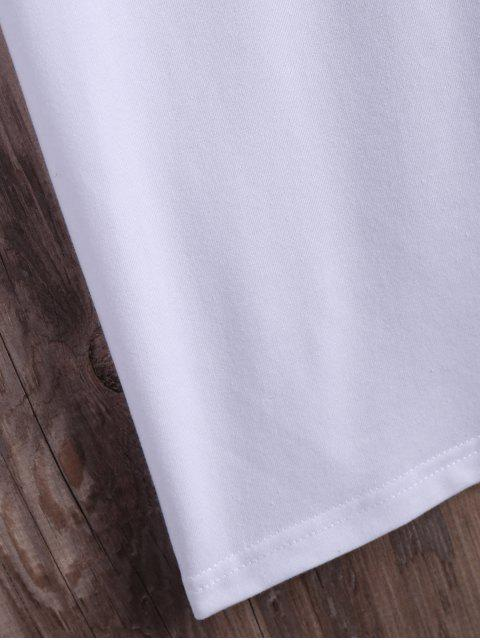 hot Roll  Sleeve Text Graphic Tee - WHITE 2XL Mobile