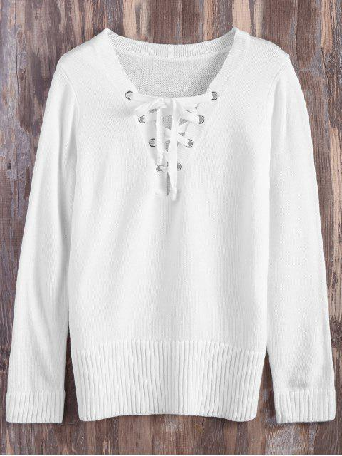 women Lace Up V Neck Side Slit Sweater - WHITE XL Mobile