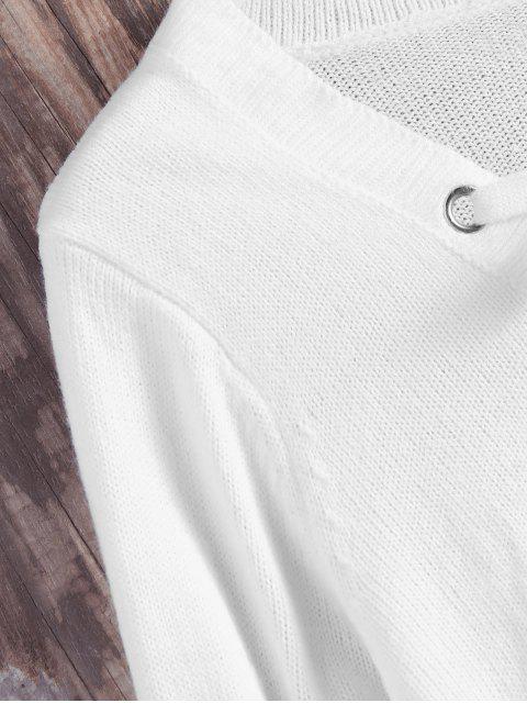 ladies Lace Up V Neck Side Slit Sweater - WHITE M Mobile