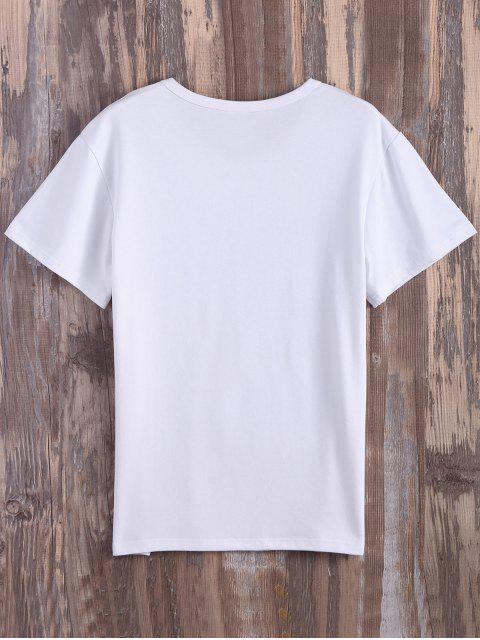 fashion Text Print Graphic Tee - WHITE M Mobile