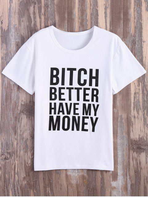 shops Text Print Graphic Tee - WHITE 2XL Mobile