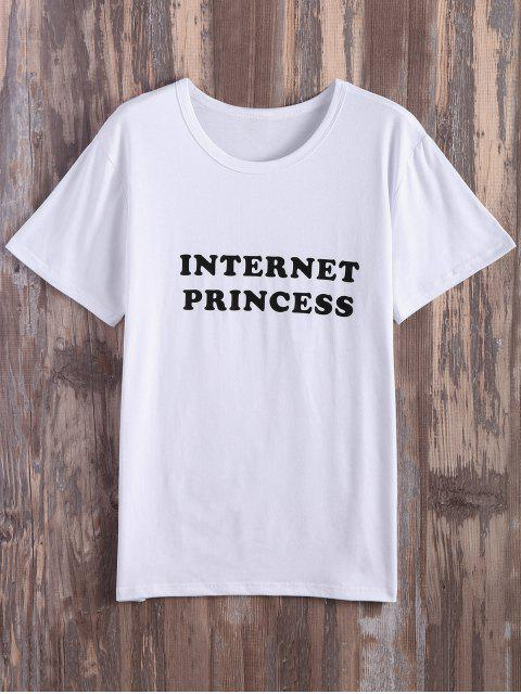 buy Internet Princess Cotton Graphic Tee - WHITE M Mobile