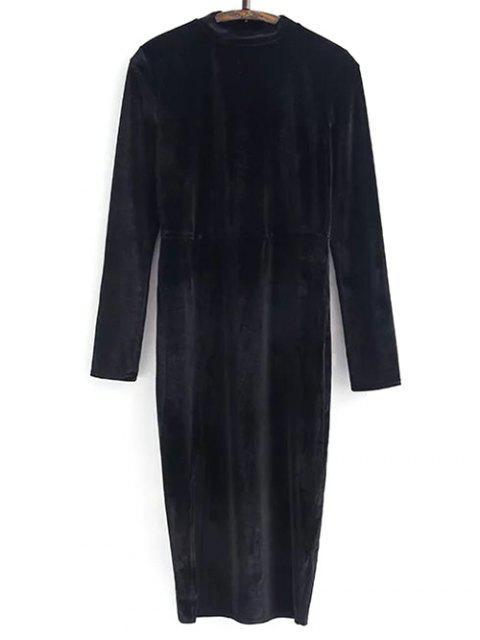 trendy Side Slit Long Sleeve Velour Dress - BLACK M Mobile