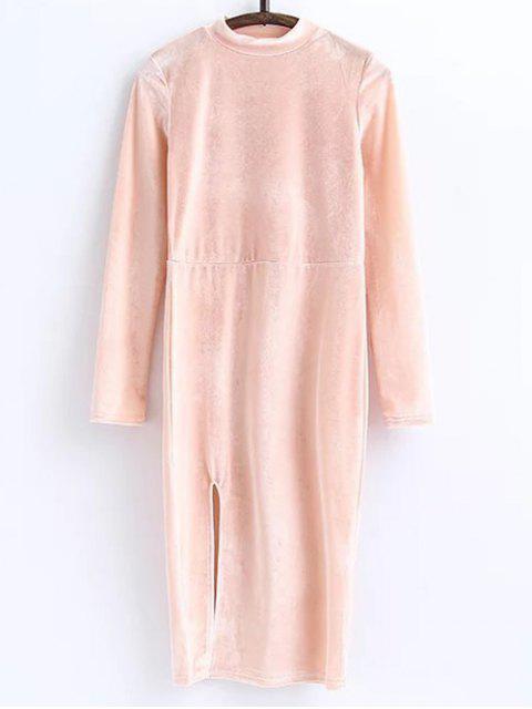 fancy Side Slit Long Sleeve Velour Dress - LIGHT PINK S Mobile