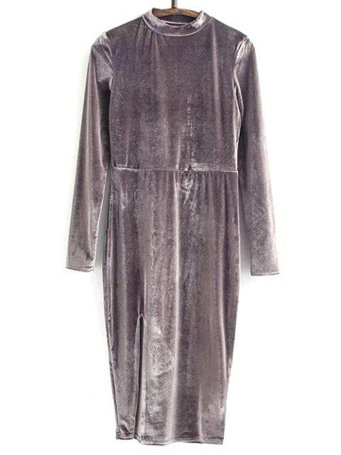 sale Side Slit Long Sleeve Velour Dress - BLACK PURPLE S Mobile