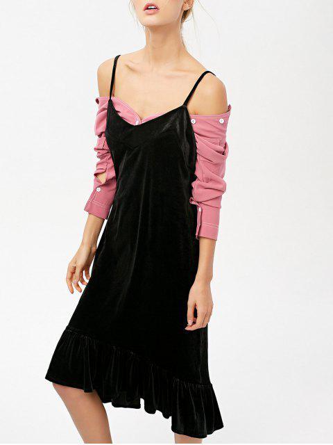 Frilled Velvet Cami Kleid - Schwarz M Mobile