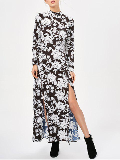 best Printed Thigh Split Maxi Dress - WHITE AND BLACK S Mobile