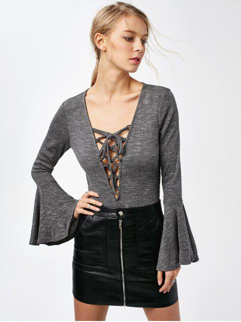 affordable Bell Sleeve Lace Up Bodysuit - GRAY L Mobile