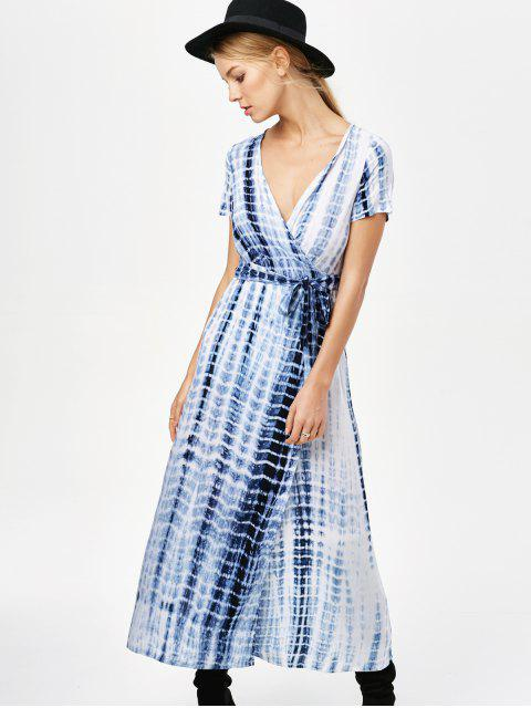 lady Tie-Dyed Short Sleeve Surplice Maxi Dress - DEEP BLUE 2XL Mobile