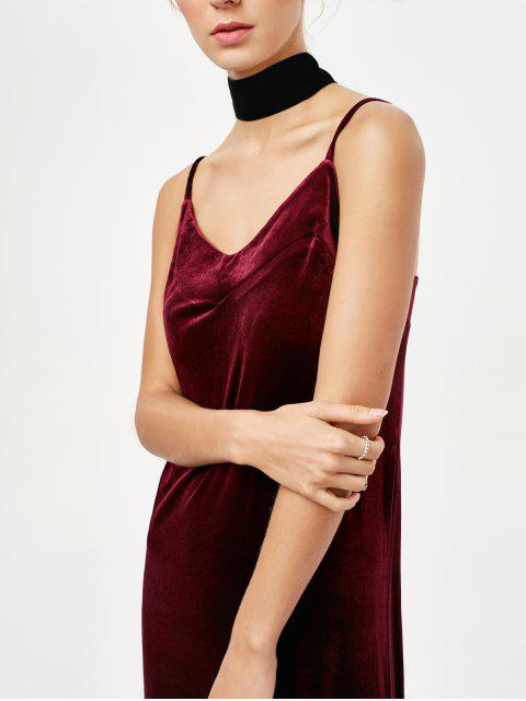 latest Frilled Velvet Cami Dress - BURGUNDY L Mobile