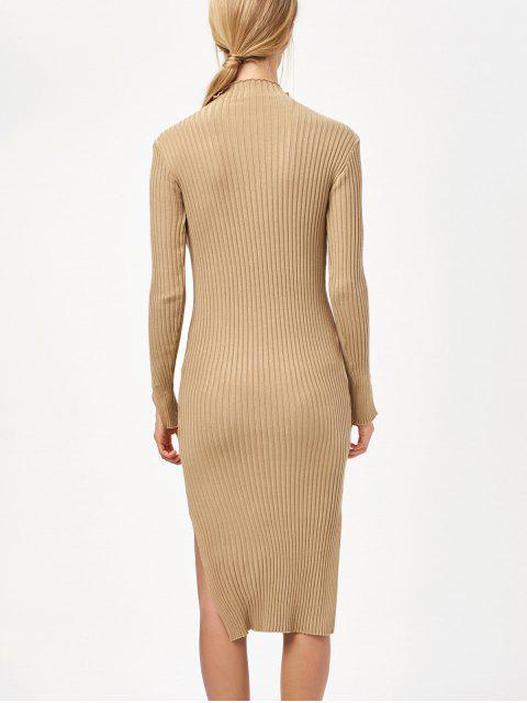trendy Side Slit Bodycon Sweater Dress - KHAKI ONE SIZE Mobile