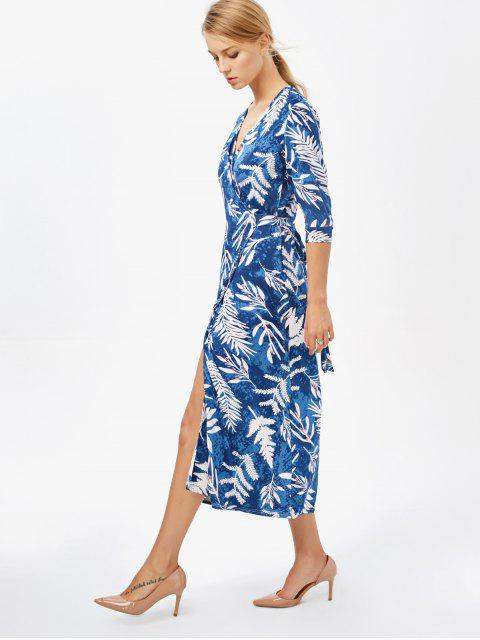 latest Printed Side Slit Surplice Maxi Dress - BLUE XL Mobile