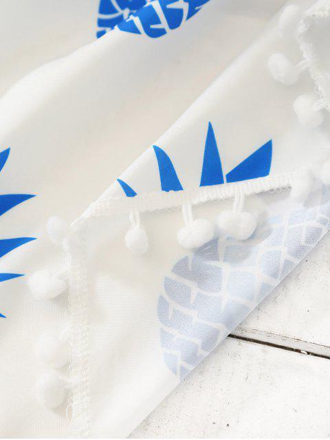 Echarpe de plage ronde imprimée et décorée de franges - Bleu TAILLE MOYENNE Mobile