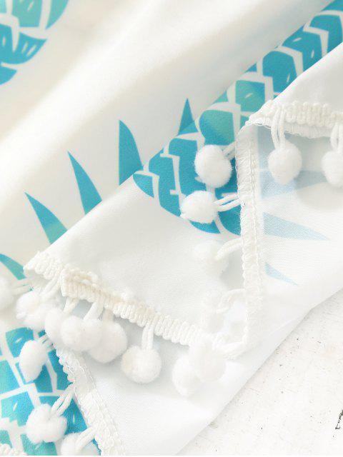 Echarpe de plage ronde imprimée et décorée de franges - Tiffany Bleu TAILLE MOYENNE Mobile