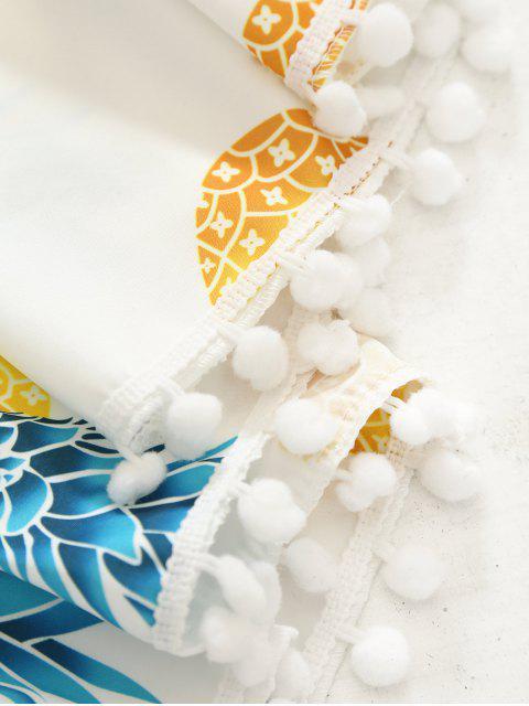Serviette de plage rond à franges imprimée ananas - Blanc TAILLE MOYENNE Mobile
