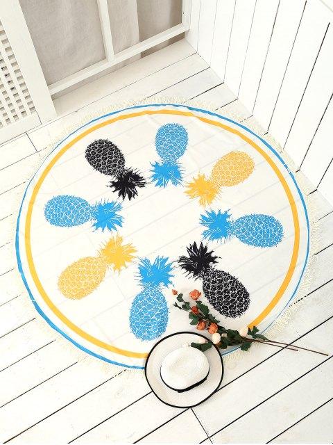Couverture ronde de plage avec franges et motifs d'ananas - Blanc TAILLE MOYENNE Mobile
