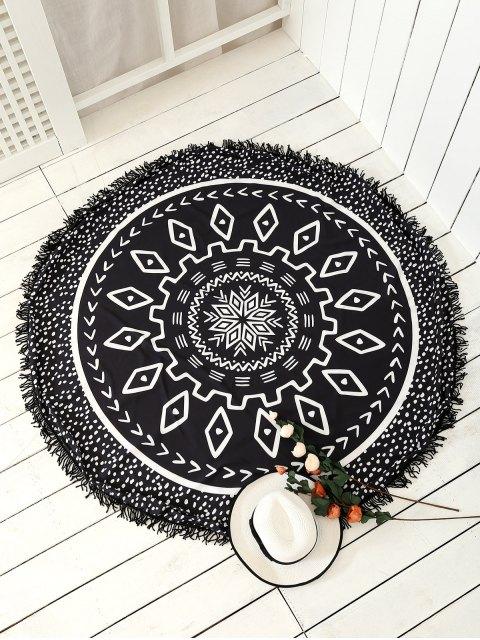 serviette de tapis de plage à motifs mandala avec franges - Noir TAILLE MOYENNE Mobile