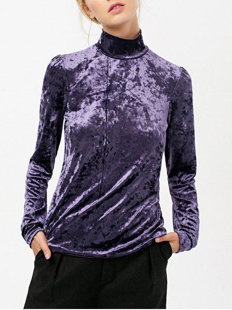 online High Collar Long Sleeve Velvet Top - PURPLE 2XL Mobile