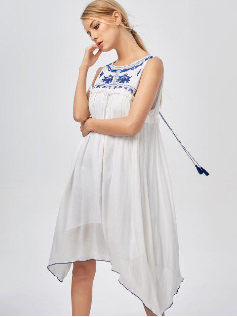 new Hanky Hem Embroidered Bohemian Dress - BLUE AND WHITE M Mobile