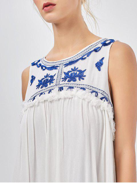 best Hanky Hem Embroidered Bohemian Dress - BLUE AND WHITE XL Mobile