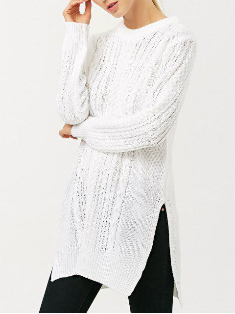 hot Cable Knit Side Slit Jumper - WHITE S Mobile